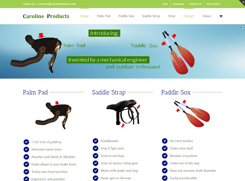 carolineproducts.com website